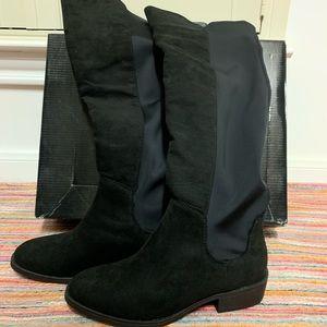 Metaphor Over the Knee Black Boots w. Elastic Back